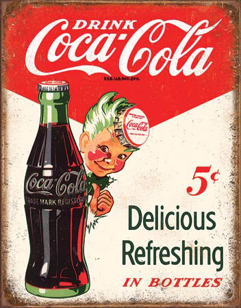 Coca-Cola VINTAGE Boy Tin Sign