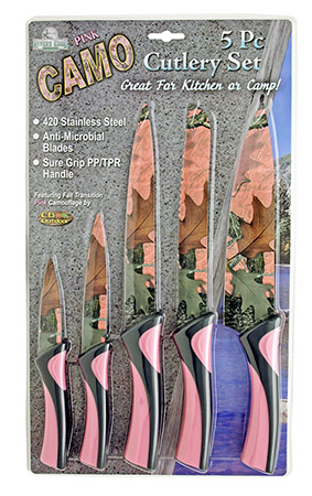 5-pc. Pink Camo Knife Set