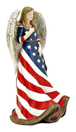 American Faith - Angel in American Flag Figurine Statue