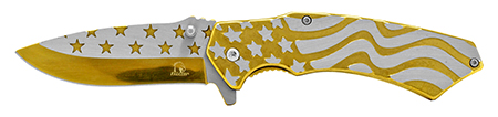 ''4.75'''' Stainless Steel American Flag Pocket KNIFE - Gold''