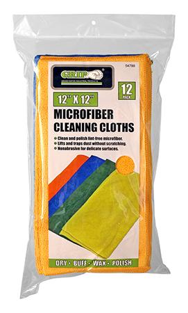 12 - pk. Microfiber Cleaning Cloths - Grip