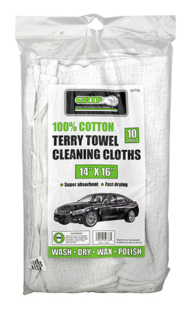 10 - pk. 100% Cotton Terry Towel Cleaning Cloths - Grip