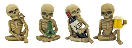 Bad to the Bone Hard Partying Skeleton Crew Smoking and Drinking Figurine Statues - DWK