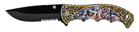 """4.75"""" Spring Assisted Outdoor Hunting Pocket Knife - Wolf"""