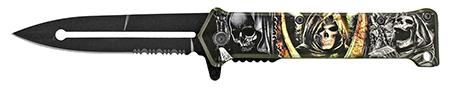 "4.63"" Stiletto Folding Pocket Knife - Death Head"