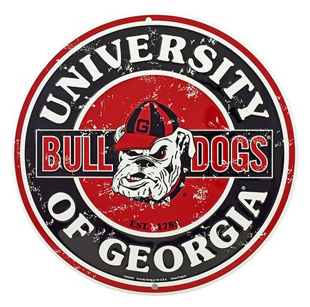 University of Georgia Bulldogs Logo Round Tin Metal Sign