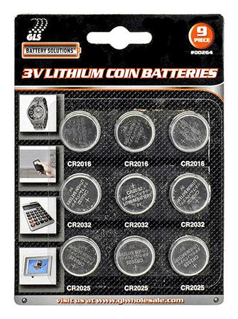 9-pc. 3V Lithium Coin Batteries