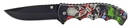 """4.75"""" Spring Assisted Finger Grip Folding Pocket Knife with Belt Clip - Twisted Evil Clown"""