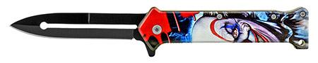 """4.5"""" Joker Stiletto Folding Pocket Knife - Evil Clown"""