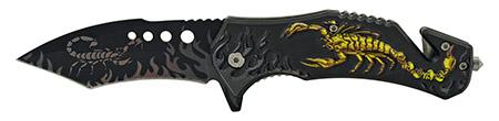 "5"" Scorpion King Warrior Folding Pocket Knife with Glass Breaker - Yellow"