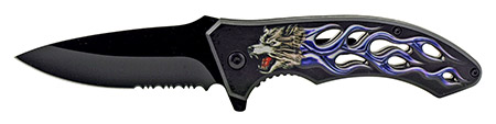 """4.63"""" Go -Thru Spring Assisted Folding Knife - Blue Cold Wolf Flame"""