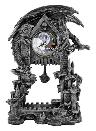 "13"" Dark Times Dragon Castle Clock with Pentagram Pendulum"