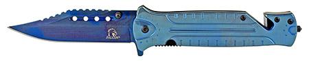 "4.75"" Stainless Steel Color Rush Folding Pocket Knife - Blue"