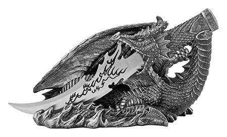 Saurian Athame - Medieval Dragon Knife Display Statue - DWK