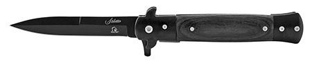 "5"" Stainless Steel Stiletto Style Folding Pocket Knife - Black on Black"