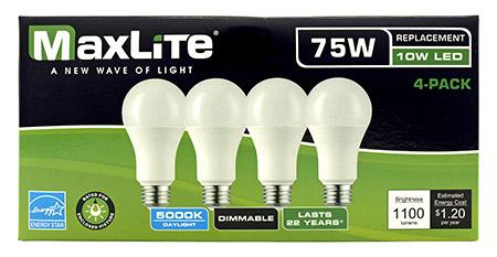 4 pk. A19 LED Light Bulbs - 1100 Lumens - 5000k
