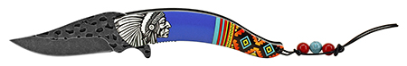 """5"""" Native Chief Indian Feather Folding Pocket Knife - Blue"""