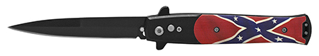 "4.88"" Push Button Switchblade Folding Pocket Knife - Confederate Flag"