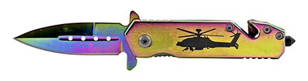 """3.5"""" Spring Assisted Stainless Steel Helicopter Rescue Folding Pocket Knife - Titanium"""