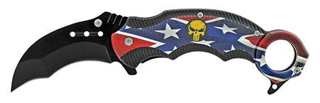 "5"" Karambit Tactical Fighting Pocket Knife - Confederate Flag"