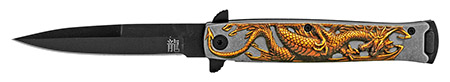 "4.75"" Embossed Dragon Folding Pocket Knife - Yellow"