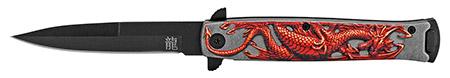 "4.75"" Embossed Dragon Folding Pocket Knife - Red"