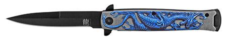 """4.75"""" Embossed Dragon Folding Pocket Knife - Blue"""