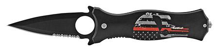 "4.75"" Fighting Finger Grip Folding Pocket Knife - Firefighter Punisher"