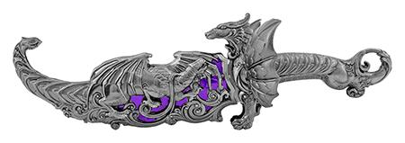 "16.13"" Heavy Duty Dragon Display Dagger - Purple"
