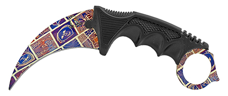 """7.5"""" Karambit Fighting Claw Knife with Carrying Case - Artistic Design"""