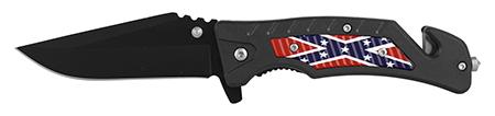 "4.75"" Emergency Rescue Folding Pocket Knife - Confederate Flag"