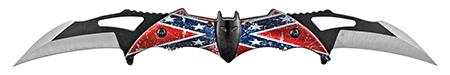 "5.75"" Dual Blade Bat Knife - Confederate Flag"
