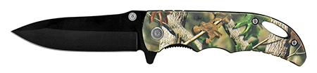"4"" Folding Pocket Knife with Belt Clip - Woodland Camo"