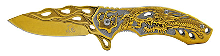 """4.5"""" Heavy Stainless Steel Classic Folding Pocket Knife - Gold"""