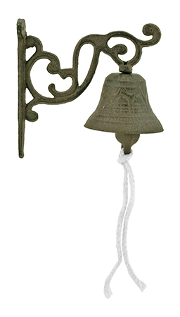 ''3'''' Cast Iron Antique Rope Pull DOORBELL or Dinner Bell - Valley''