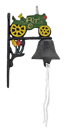''3'''' Cast Iron Tractor Rope Pull Vintage DOORBELL and Dinner Bell - Valley''