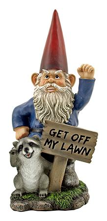 "17"" Cranky Morning Warning Garden Gnome Statue Figurine - DWK"