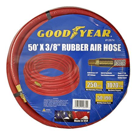 "50' x 3/8"" Rubber Pneumatic Air Hose - Goodyear"