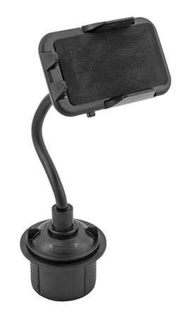 Adjustable Vehicle Cup Holder Cell Phone Mount - Black