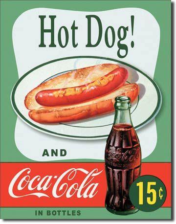 Coca-Cola & Hotdog Tin Sign