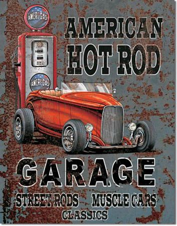 America Hot Rod Tin Sign