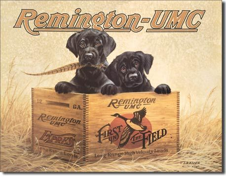 Remington Puppy Tin Sign