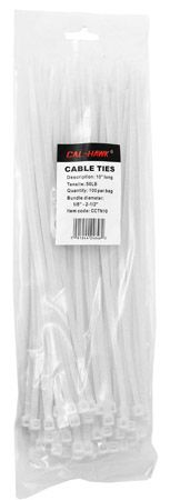 "100-pc. 10"" White Zip Cable Ties"