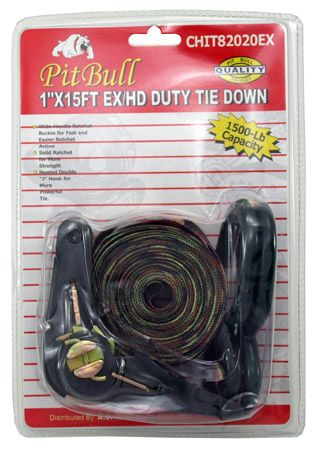 "1"" x 15' Heavy Duty Camouflage Ratcheting Tie Down"
