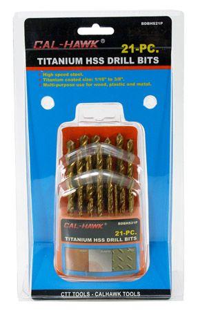 21-pc. Titanium HSS Drill Bits