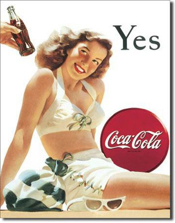 ''Coca-Cola ''''White BATHING SUIT'''' Tin Sign''