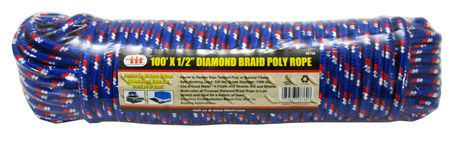 ''100' x 1/2'''' DIAMOND Braid Poly Rope''