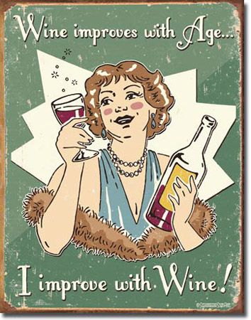 Improve With Wine Tin Sign