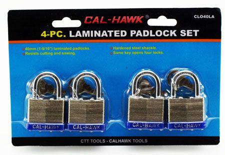 4-pc. 40mm Laminated Padlock Set