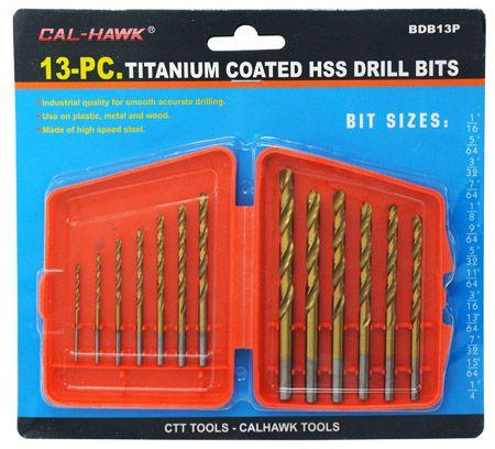 13-pc. Titanium Coated HSS Drill Bits
